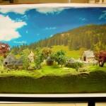Komplettes Diorama mit dem Fotohintergrund für die folgenden Fotos